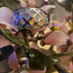 Vintage 925 inlay Ethiopian opal ring